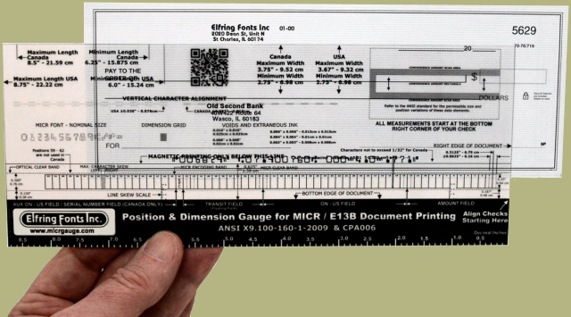 Micr Check Position Gauges Verify Accurate Check Printing